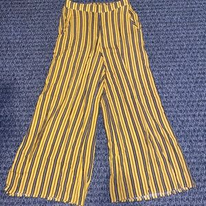 Hollister Yellow and Black Striped Wide Leg Pants
